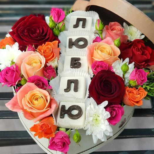 """Композиция с шоколадными буквами """"Признание"""": букеты цветов на заказ Flowwow"""