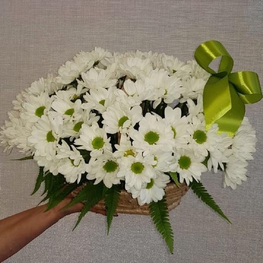 Корзинка с хризантемами: букеты цветов на заказ Flowwow