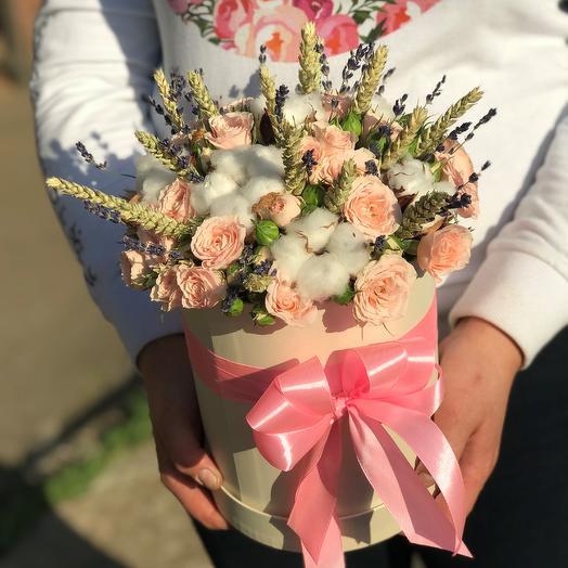 Коробки с цветами. Кустовые розы. Хлопок. Пшеница. N456