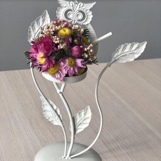 Композиция из сухоцветов в подставке ажурная сова: букеты цветов на заказ Flowwow