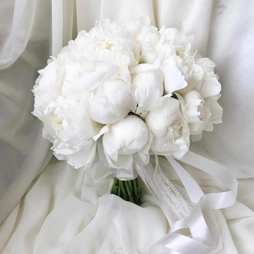 Свадебный букет пионов 29 шт: букеты цветов на заказ Flowwow