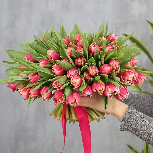 101 розовый пионовидный тюльпан