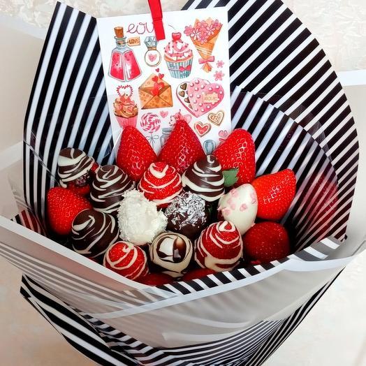 Клубничный букетик Вкусняшка: букеты цветов на заказ Flowwow