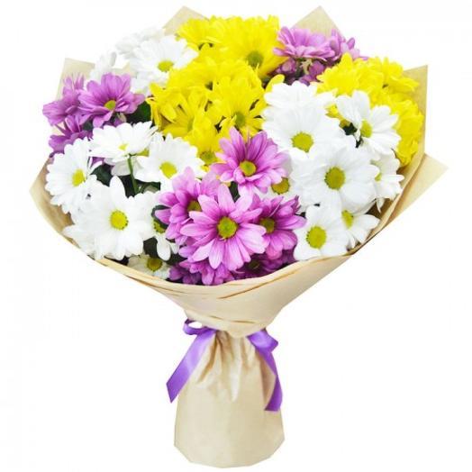 Букет из хризантемы микс 2 (цвет упаковки может отличаться от фотографии)
