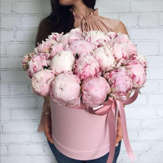 Пионы Сара Бернар розовые в шляпной коробке 29 Шт: букеты цветов на заказ Flowwow