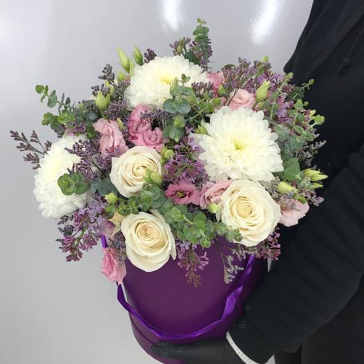 Коробка лиловая: букеты цветов на заказ Flowwow