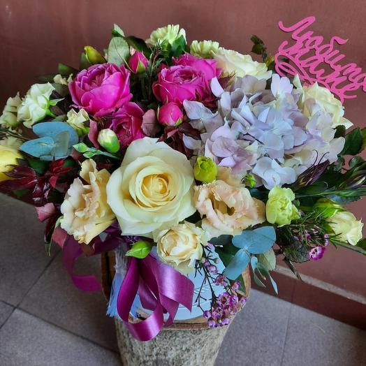Цветы в коробке Любимой Маме