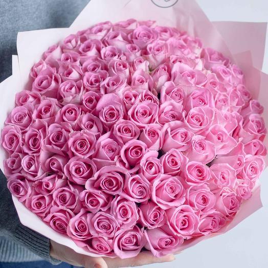 Букет из 101 розовой розы (Кения) 40 см Standart