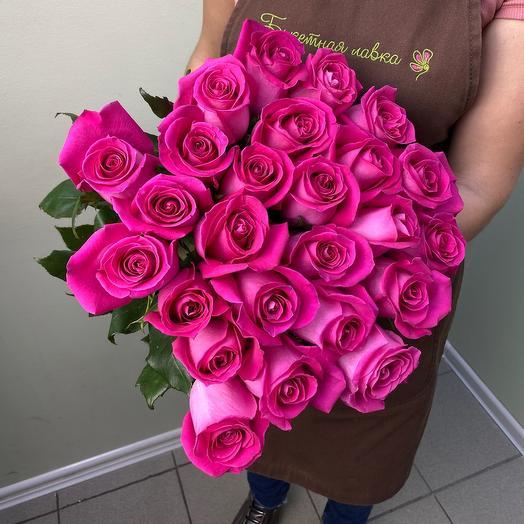 25 розовых роз 60см