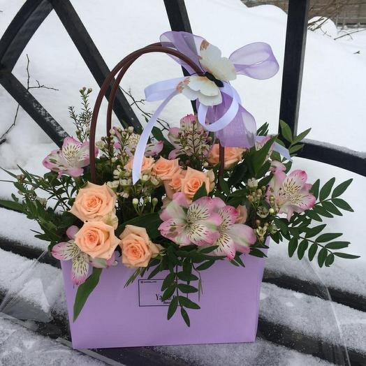 """Цветы в сумочке """"Лёгкость"""""""