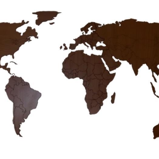 Деревянная карта мира 80х40 см (Орех)