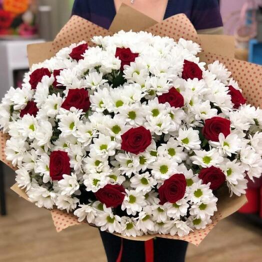 Ромашки с розами)