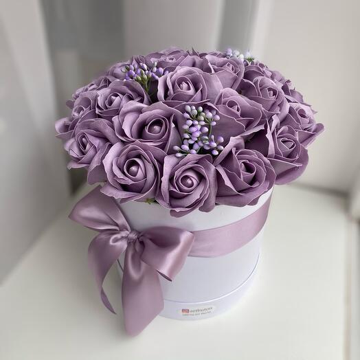 25 мыльных роз в коробке