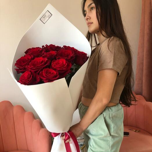 Букет из красной розы эквадор 80 см