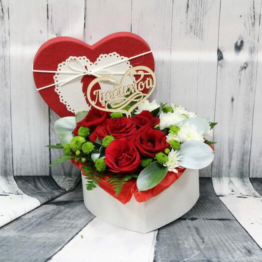 Букет в коробке Сердце