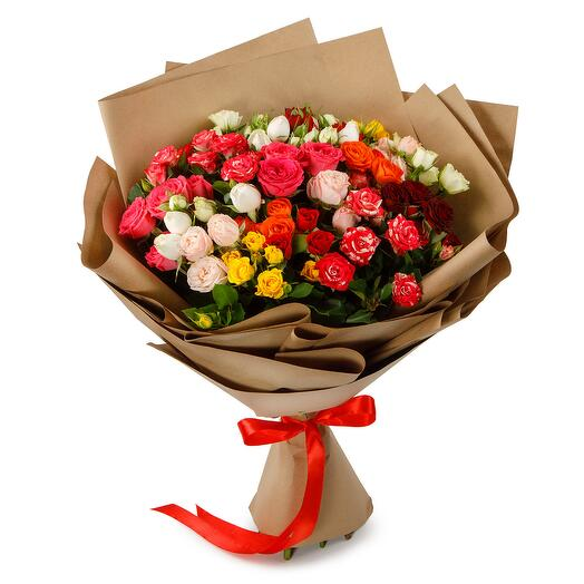 Букет роз Цветная карамель
