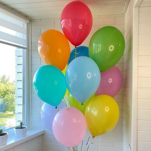 Набор из 12 разноцветных гелиевых шаров