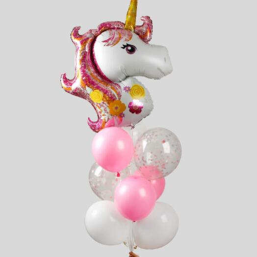 """Набор воздушных шаров с конфетти """"Единорог"""", набор 10 шт"""