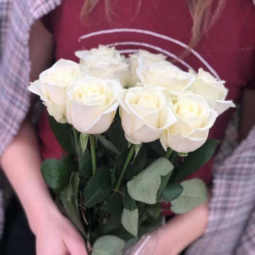Букет из 9 белых роз 50 см: букеты цветов на заказ Flowwow