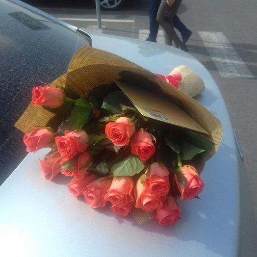 15 роз (цвета красные белые розовые)