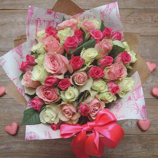 51 Кенийская роза 40см в крафте: букеты цветов на заказ Flowwow
