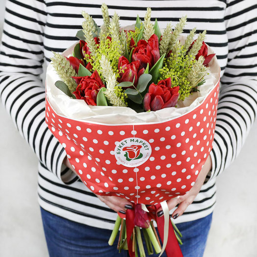 Букет из тюльпанов и пшеницы: букеты цветов на заказ Flowwow