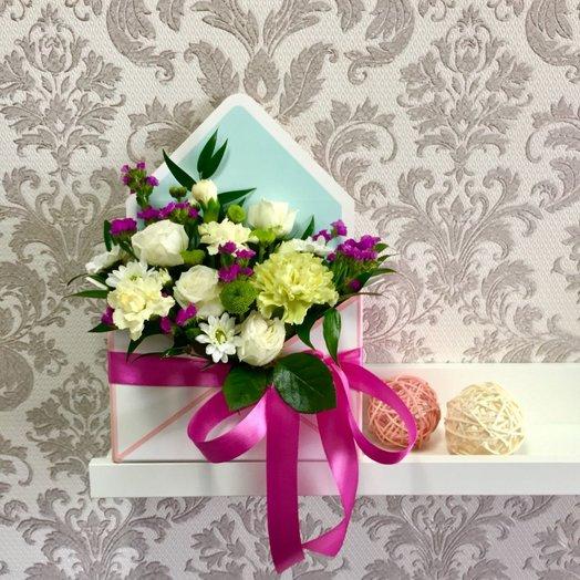 Конвертик с цветами Весенние краски: букеты цветов на заказ Flowwow