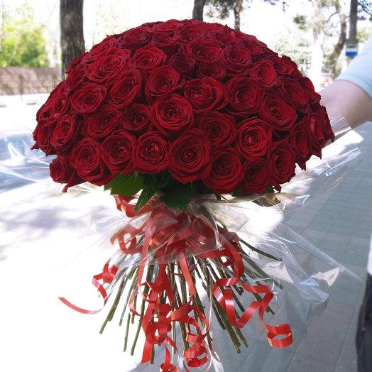 Букет из 75 красных роз 50 см: букеты цветов на заказ Flowwow