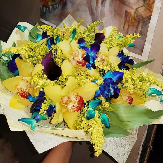 Экзотика от Floristic World. Орхидея двух видов, калла, солидаго: букеты цветов на заказ Flowwow