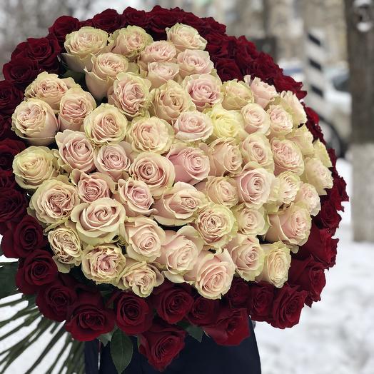 101 голландская роза в форме сердца