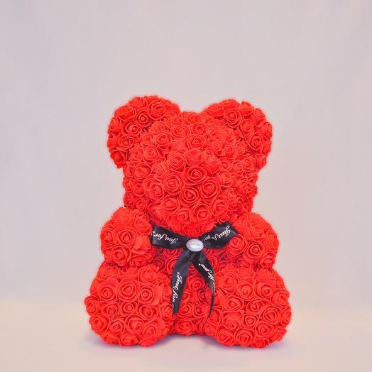 Мишка из роз RozaRose Красный - 40 см: букеты цветов на заказ Flowwow