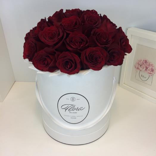 Шляпная коробка Grand розы Freedom: букеты цветов на заказ Flowwow