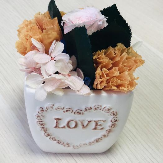 Розы и эустома сохранённые в кашпо: букеты цветов на заказ Flowwow