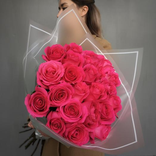 Моно букет из эквадорской розы «Пинк Флойд»: букеты цветов на заказ Flowwow
