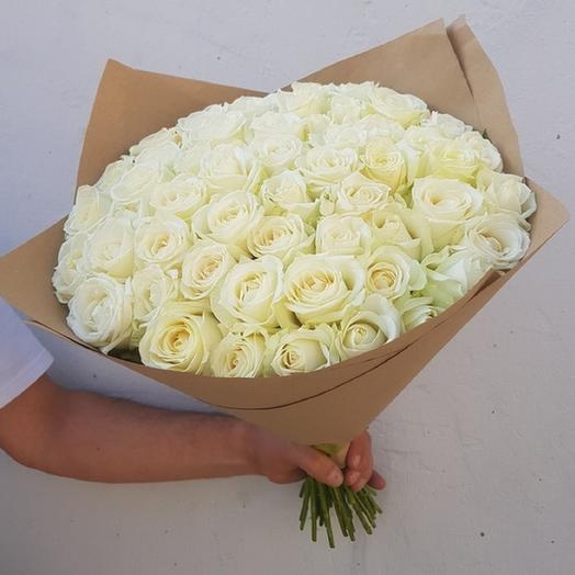 Букет из 51 белой розы: букеты цветов на заказ Flowwow