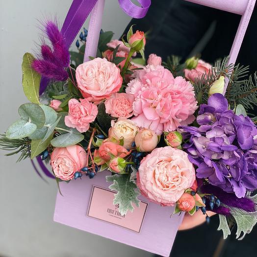 Деревянный ящичек 10.01: букеты цветов на заказ Flowwow