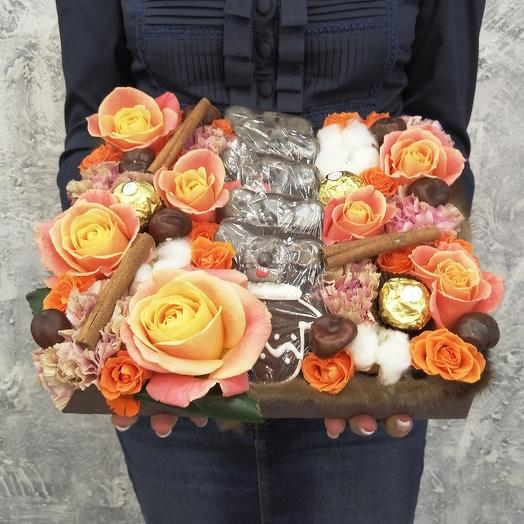 Прекрасные мышата с розами, корицей, хлопком: букеты цветов на заказ Flowwow