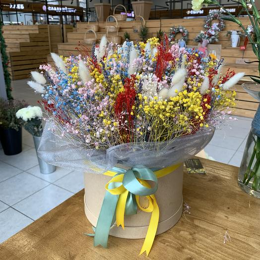 Шляпная коробка из сухоцветов: букеты цветов на заказ Flowwow