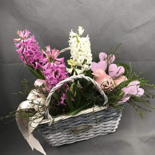 Композиция с гиацинтами: букеты цветов на заказ Flowwow