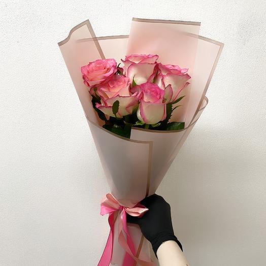 Букет из 5 роз Джумилия (40 см ): букеты цветов на заказ Flowwow