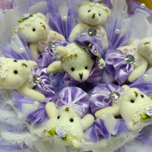 """Букет из игрушек """" Мишки в сиреневых платьях"""": букеты цветов на заказ Flowwow"""