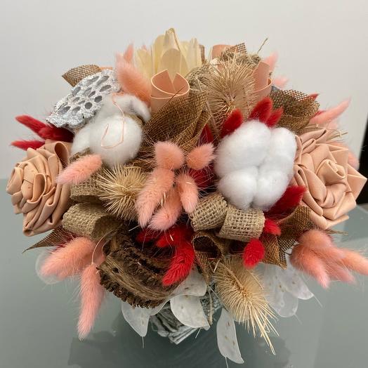 Композиция из сухоцветов и хлопка: букеты цветов на заказ Flowwow