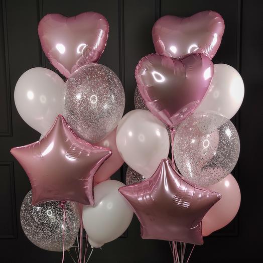 Композиция из  шаров бело-розовых и прозрачных с серебряными блестками, сердцами и звездами