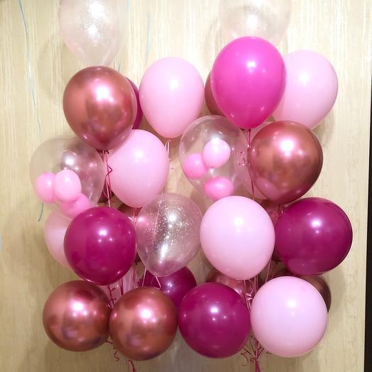 30 Воздушных розовых шаров