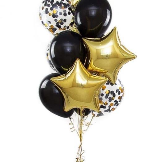 Связка шаров черно-золотой