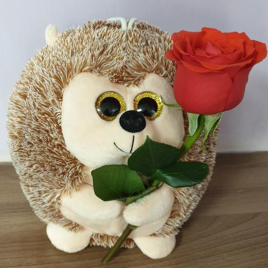 Ёжик с живой розой