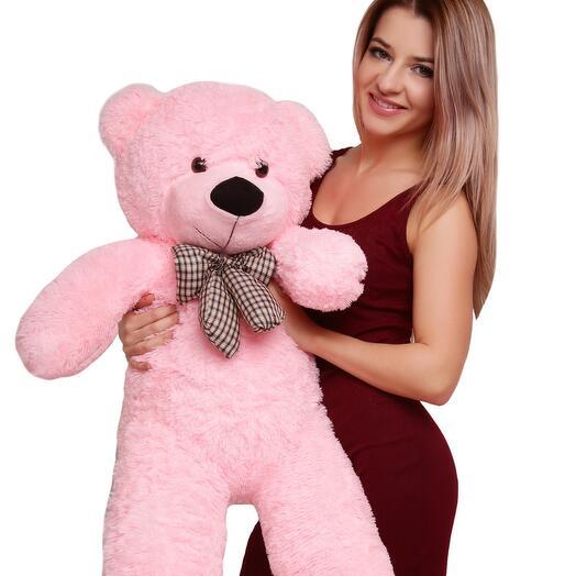 Большой розовый плюшевый мишка 120 см
