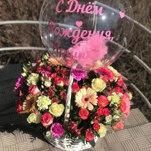 Корзина с цветами 🌼 + шар Babble 🎈