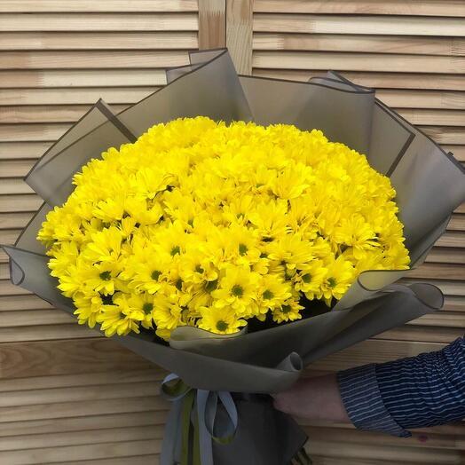 15 кустовых хризантем в оформлении