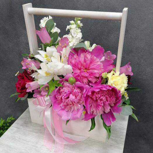 Нежный ящик с пионами, кустовой розой и маттиолой